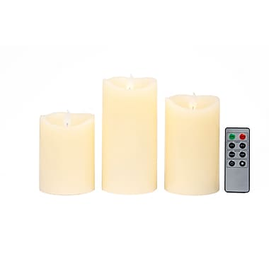 Viatek® 3 Pieces Flickering Flame LED Mood Candle
