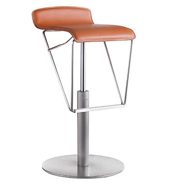 Bellini Modern Living Alfa Adjustable Height Swivel Bar Stool; Tangerine