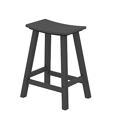 POLYWOOD Traditional 24'' Bar Stool; Slate Grey