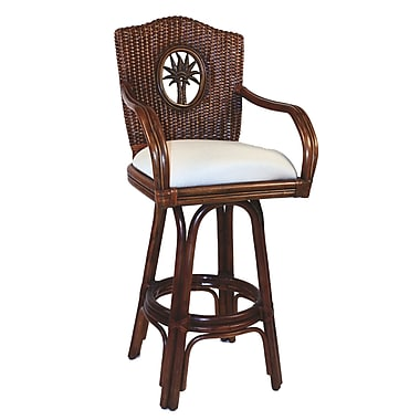 Hospitality Rattan Lucaya 30'' Swivel Bar Stool; Rave Brick