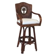 Hospitality Rattan Lucaya 30'' Swivel Bar Stool with Cushion; Bahamian Breeze Cinnamon