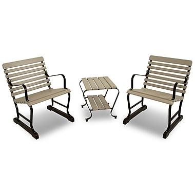 Ivy Terrace Vintage 3 Piece Seating Group; Black/Sand