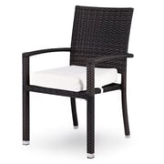 Source Outdoor Zen Dining Arm Chair w/ Cushion; Bay Brown