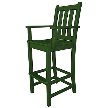 POLYWOOD Traditional 30'' Bar Stool; Green