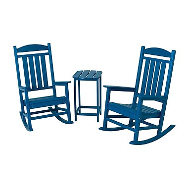 POLYWOOD Presidential 3 Piece Rocker Set; Pacific Blue