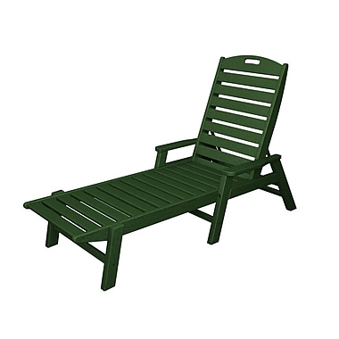 POLYWOOD Nautical Chaise Lounge; Hunter Green