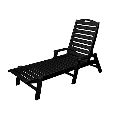 POLYWOOD Nautical Chaise Lounge; Black