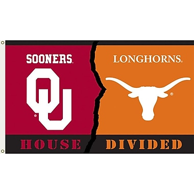 BSI Products NCAA Rivalry House Divided Traditional Flag; Oklahoma vs. Texas