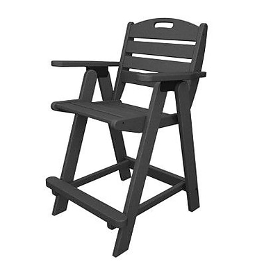 POLYWOOD Nautical 24.5'' Bar Stool; Slate Grey