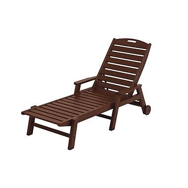 POLYWOOD Nautical Chaise Lounge w/ Arms; Mahogany