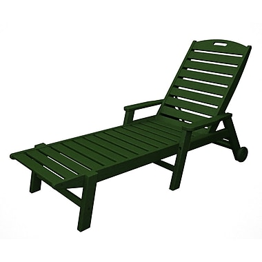 POLYWOOD Nautical Chaise Lounge w/ Arms; Green