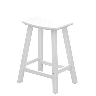 POLYWOOD Traditional 24'' Bar Stool; White