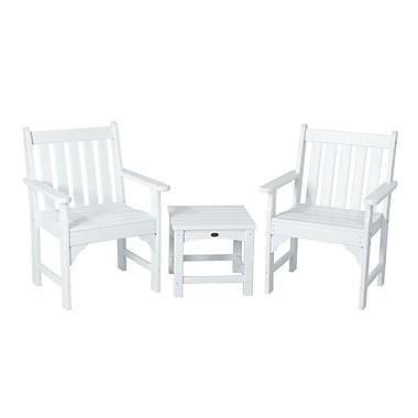 POLYWOOD Vineyard 3 Piece Garden Chair Set; White