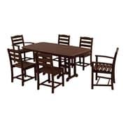 POLYWOOD  La Casa Cafe 7 Piece Dining Set; Mahogany