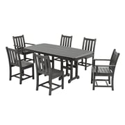 POLYWOOD  Traditional Garden 7 Piece Dining Set; Slate Grey