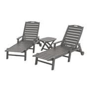 POLYWOOD  Nautical 3 Piece Chaise Set; Slate Grey