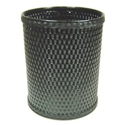 Redmon Chelsea Decorator Round Wicker Wastebasket; Black
