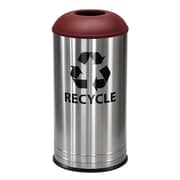 Ex-Cell Metal Products 18-Gal Stainless Steel Indoor Industrial Recycling Bin; Burgundy Texture