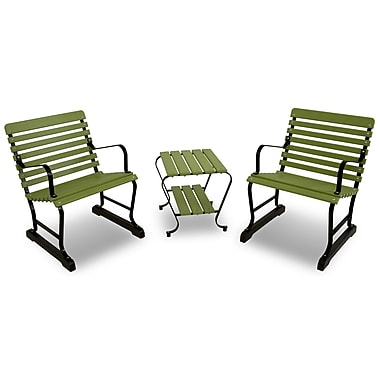 Ivy Terrace Vintage 3 Piece Seating Group; Black/Lime