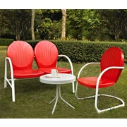Crosley Griffith 3 Piece Seating Group; Red