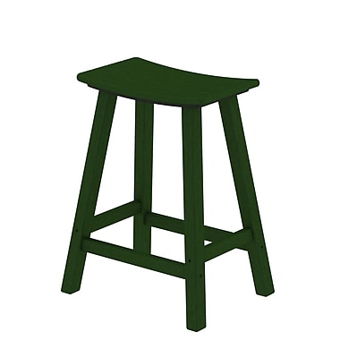 POLYWOOD Traditional 24'' Bar Stool; Green