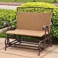 International Caravan Valencia Iron Wicker Resin Patio Glider Chair; Chocolate