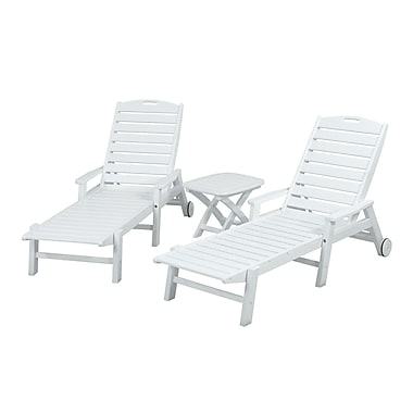 POLYWOOD Nautical 3 Piece Chaise Set; White