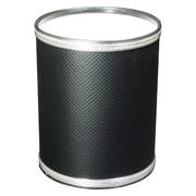 Redmon Budget Round Wastebasket; Black with Silver Mylar Trim