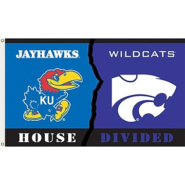 BSI Products NCAA Rivalry House Divided Traditional Flag; Kansas vs. Kansas State