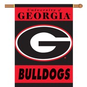BSI Products NCAA 2-Sided Banner; Georgia Bulldogs - G Logo on Black & Red