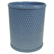 Redmon Chelsea Decorator Round Wicker Wastebasket; Coastal Blue