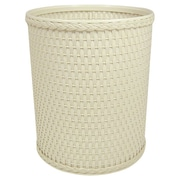 Redmon Chelsea Decorator Round Wicker Wastebasket; Cream