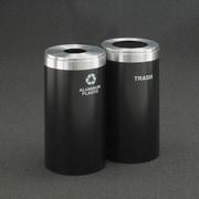 Glaro, Inc. RecyclePro Value Series Dual Unit 46 Gallon Multi Compartment Recycling Bin; Black