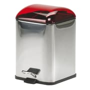 WS Bath Collections Complements Karta Waste Basket with Foot Pedal; Red