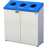 Frost Three Stream Free Standing 45 Gallon Multi Compartment Recycling Bin; White/Blue
