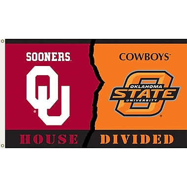 BSI Products NCAA Rivalry House Divided Traditional Flag; Oklahoma vs. Oklahoma State
