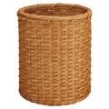 OIA Natural Round Wicker Wastebasket; Honey