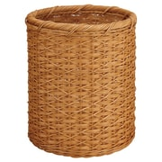 OIA Organize It All Natural Round Wicker Trash Can; Honey