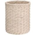 OIA Natural Round Wicker Wastebasket; White