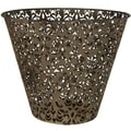 Oriental Furniture Filigree Wrought Iron Waste Basket