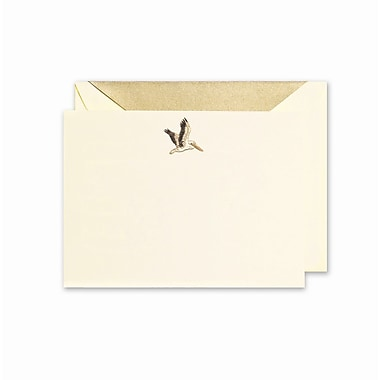 Crane & Co™ Hand Engraved Ecru Correspondence Card With Envelope, Black/Gold Pelican