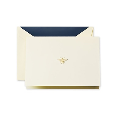 Crane & Co™ Hand Engraved Ecru White Note With Envelope, Gold Bee