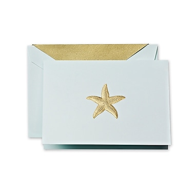 Crane & Co™ Hand Engraved Beach Glass Note With Envelope, Gold Starfish