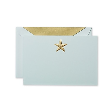 Crane & Co™ Hand Engraved Beach Glass Correspondence Card With Envelope, Gold Starfish