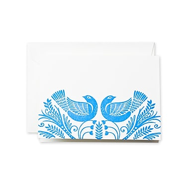 Crane & Co™ Letterpress Pearl White Note With Envelope, Newport Blue Birds