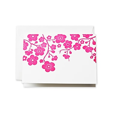Crane & Co™ Letterpress Pearl White Note With Envelope, Raspberry Plum Blossom