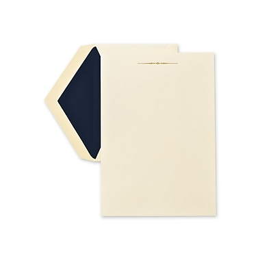 Crane & Co™ Hand Engraved Ecruwhite Half Sheet With Envelope, Tailored Ornament Gold