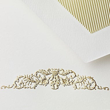 Crane & Co™ Hand Engraved Ecruwhite Half Sheet With Envelope, Gold Botanical Swag