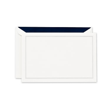 Crane & Co™ Lithographed Pearl White Correspondence Card With Envelope, Navy Blue Triple Hairline