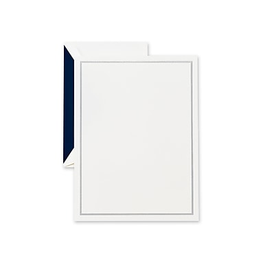 Crane & Co™ Lithographed Pearl White Half Sheet With Envelope, Navy Blue Triple Hairline
